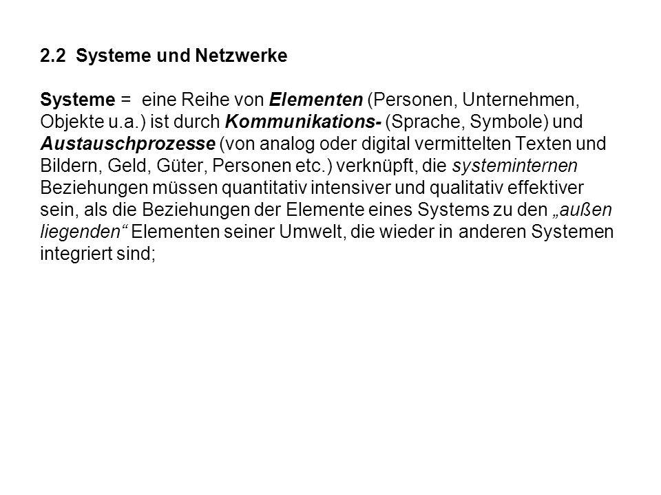 2.2 Systeme und Netzwerke Systeme = eine Reihe von Elementen (Personen, Unternehmen,