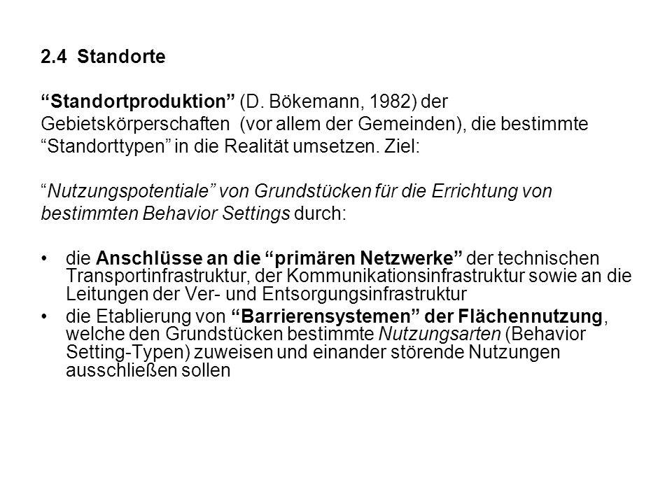 2.4 Standorte Standortproduktion (D. Bökemann, 1982) der. Gebietskörperschaften (vor allem der Gemeinden), die bestimmte.