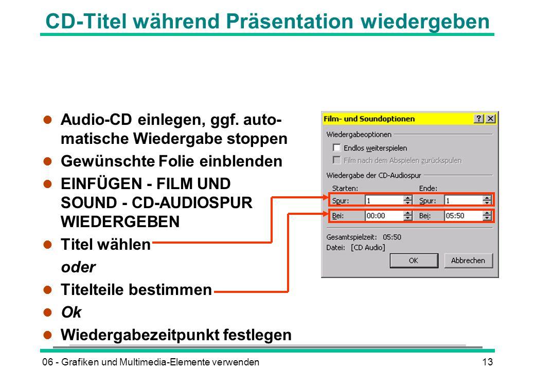 CD-Titel während Präsentation wiedergeben