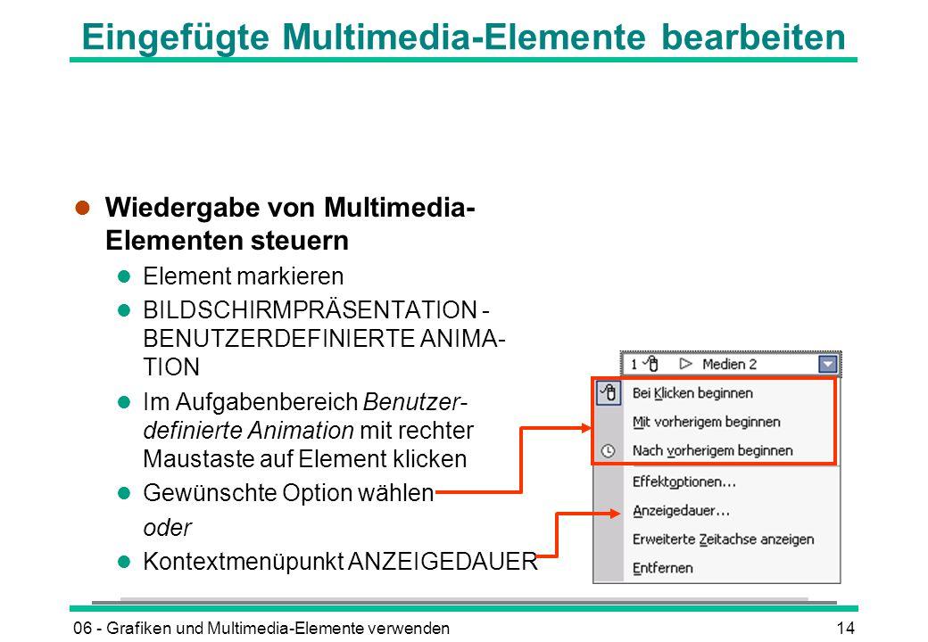 Eingefügte Multimedia-Elemente bearbeiten