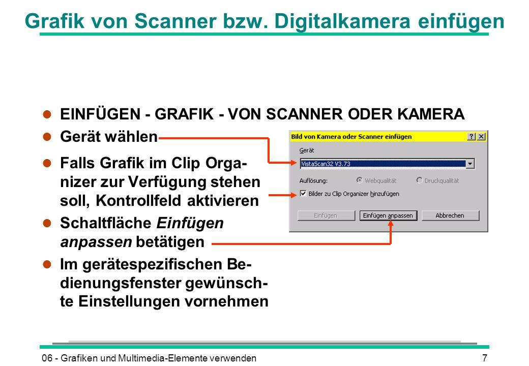 Grafik von Scanner bzw. Digitalkamera einfügen