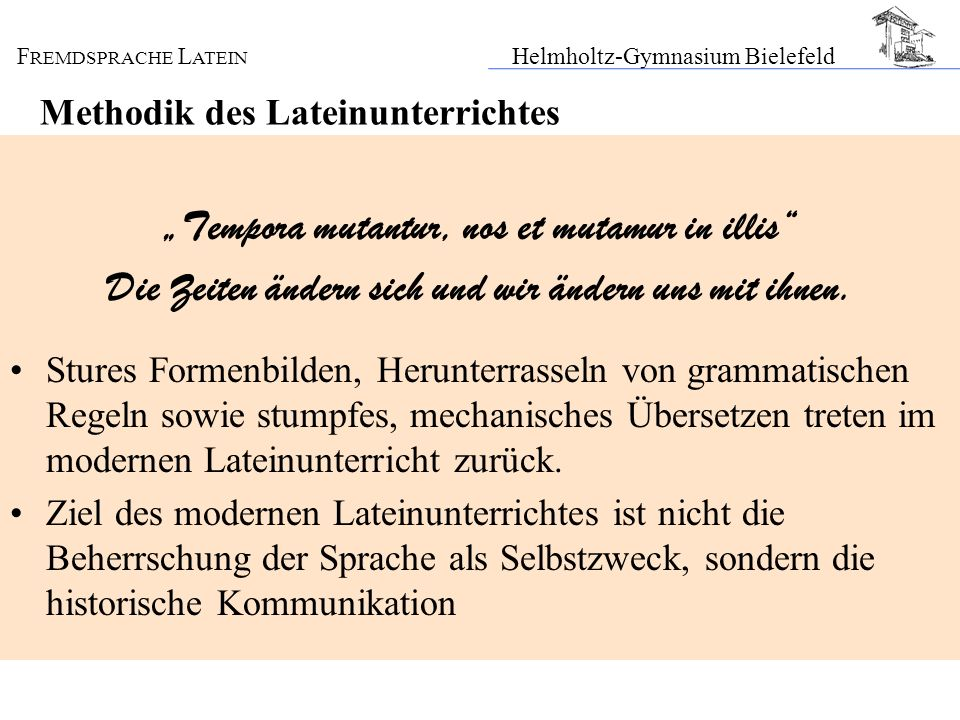 Methodik des Lateinunterrichtes