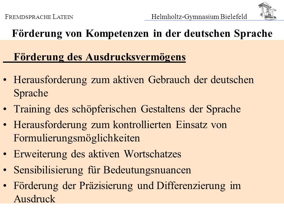 Förderung von Kompetenzen in der deutschen Sprache