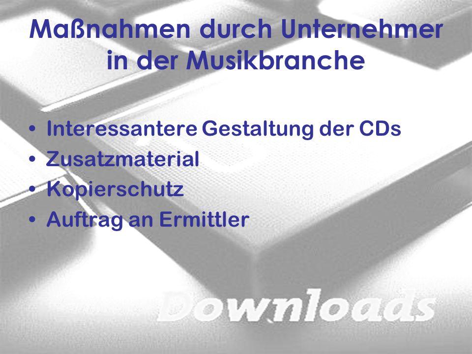 Maßnahmen durch Unternehmer in der Musikbranche