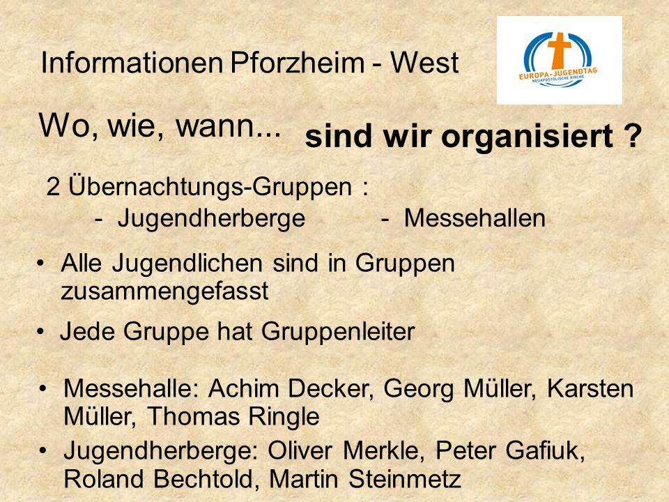 Wo, wie, wann... sind wir organisiert Informationen Pforzheim - West