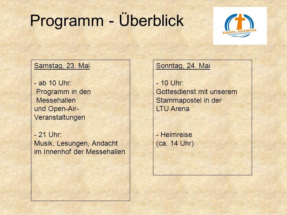 Programm - Überblick Samstag, 23. Mai - ab 10 Uhr: Programm in den