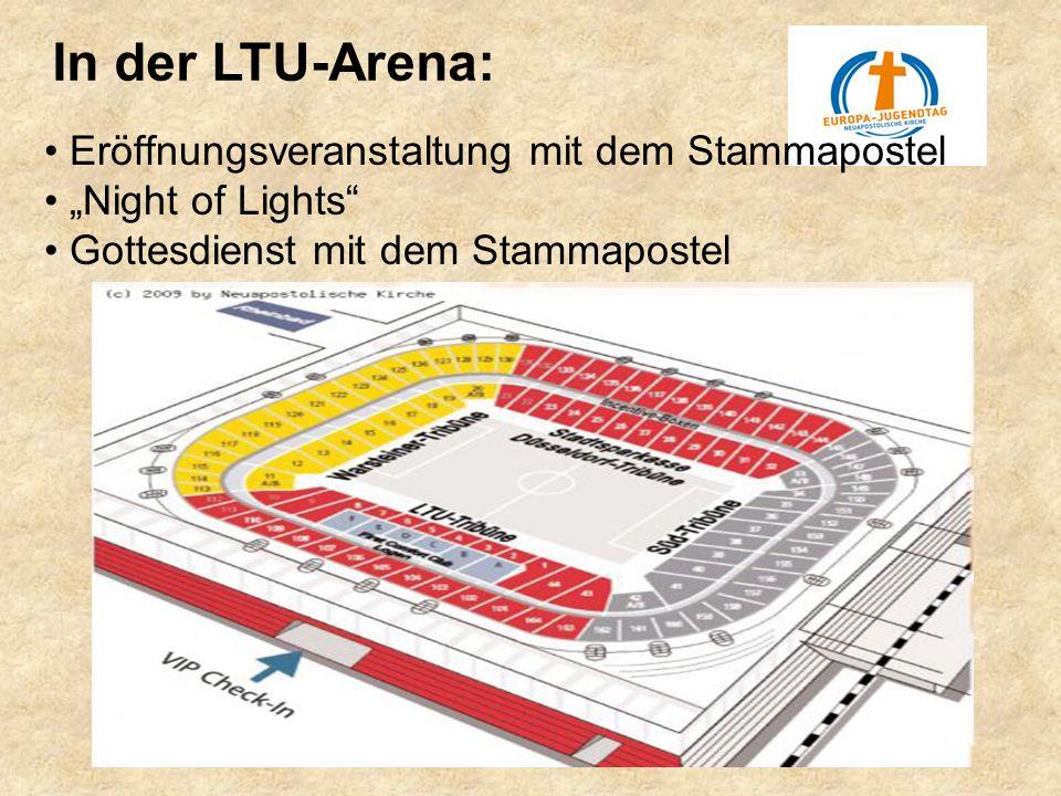 In der LTU-Arena: Eröffnungsveranstaltung mit dem Stammapostel