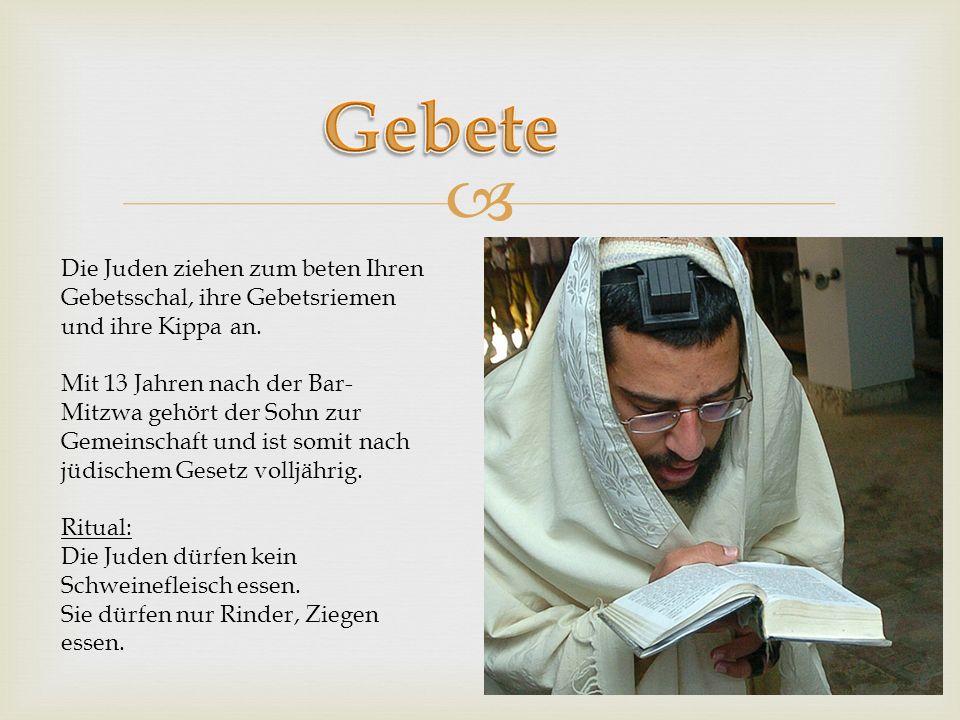 Gebete Die Juden ziehen zum beten Ihren Gebetsschal, ihre Gebetsriemen und ihre Kippa an.