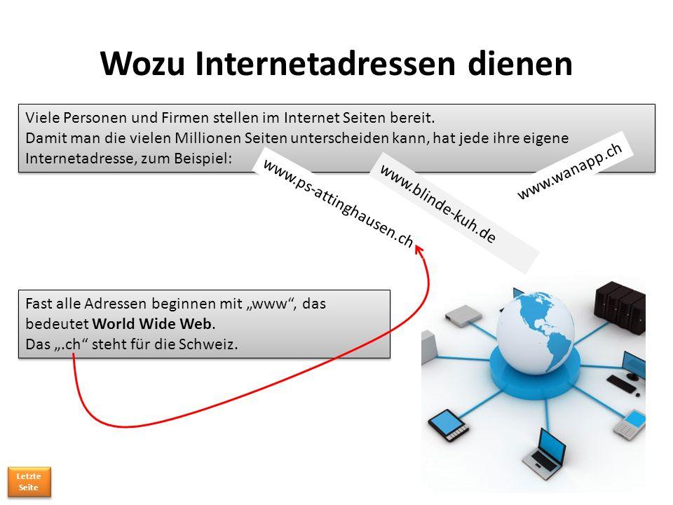 Wozu Internetadressen dienen