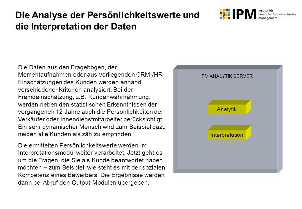 Die Analyse der Persönlichkeitswerte und die Interpretation der Daten