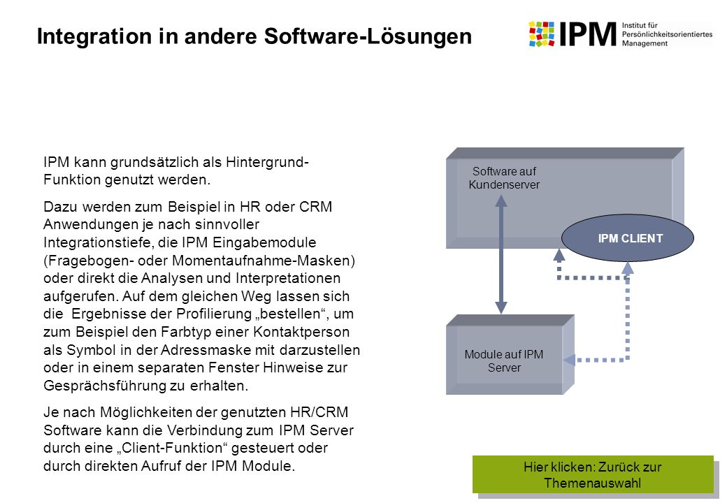 Integration in andere Software-Lösungen