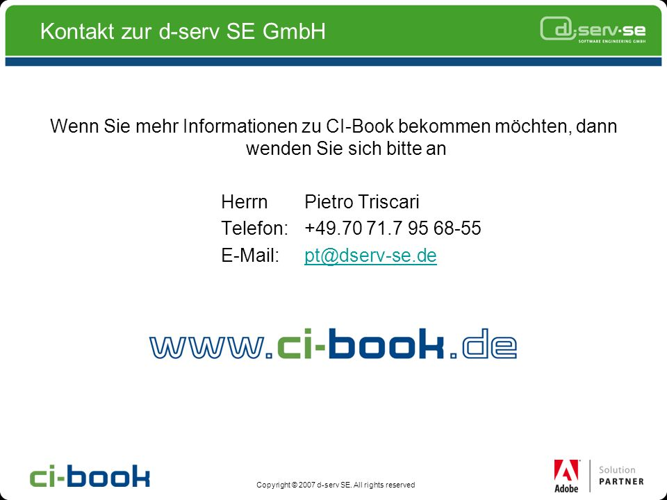 Kontakt zur d-serv SE GmbH