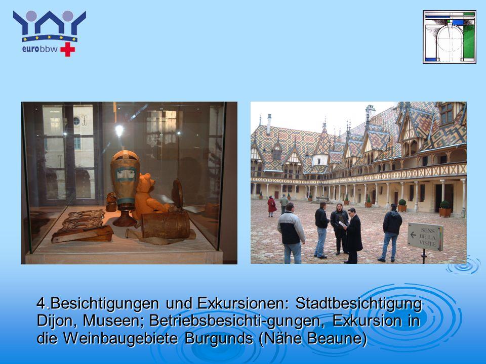 4.Besichtigungen und Exkursionen: Stadtbesichtigung Dijon, Museen; Betriebsbesichti-gungen, Exkursion in die Weinbaugebiete Burgunds (Nähe Beaune)