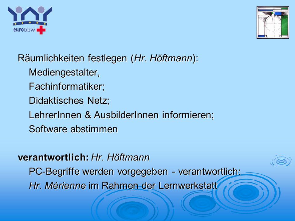 Räumlichkeiten festlegen (Hr. Höftmann):