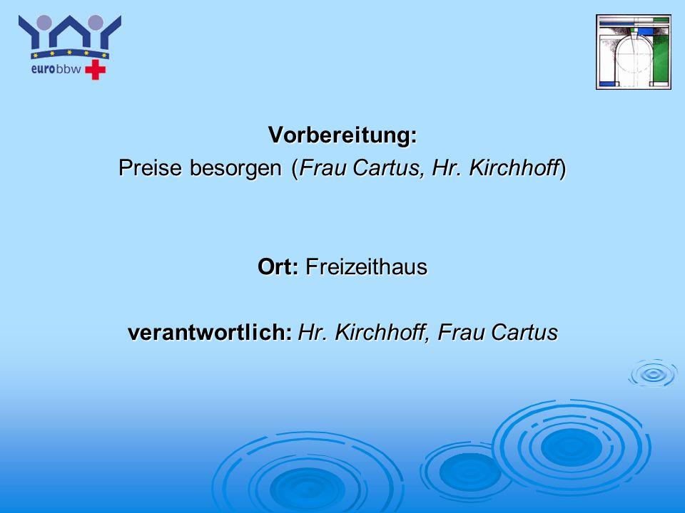 Preise besorgen (Frau Cartus, Hr. Kirchhoff)