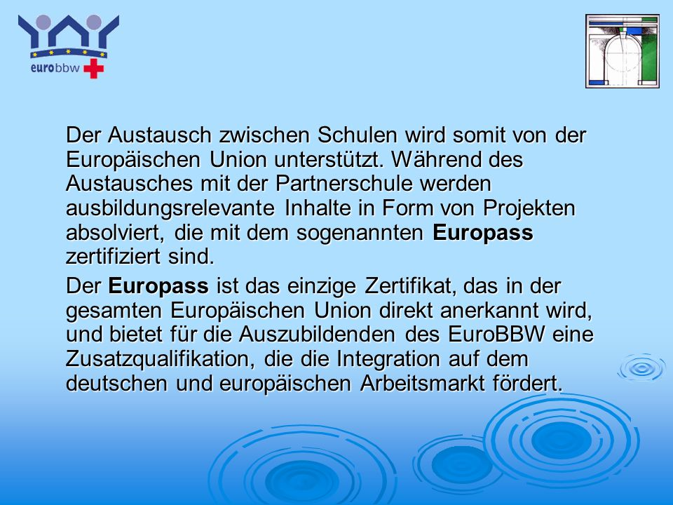 Der Austausch zwischen Schulen wird somit von der Europäischen Union unterstützt. Während des Austausches mit der Partnerschule werden ausbildungsrelevante Inhalte in Form von Projekten absolviert, die mit dem sogenannten Europass zertifiziert sind.