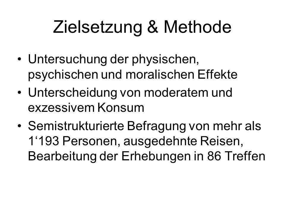 Zielsetzung & MethodeUntersuchung der physischen, psychischen und moralischen Effekte. Unterscheidung von moderatem und exzessivem Konsum.