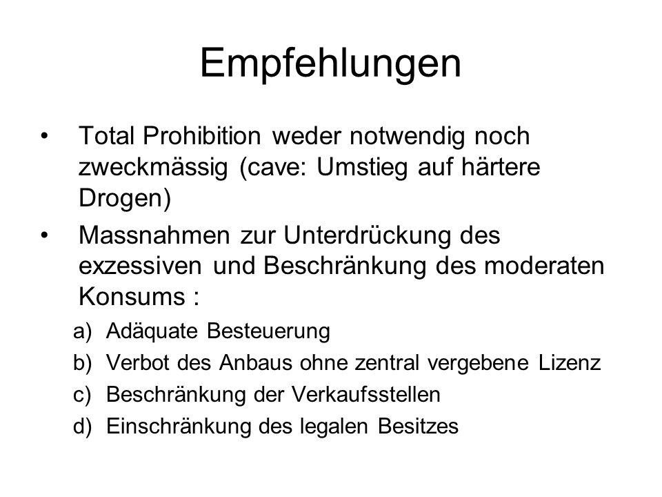 Empfehlungen Total Prohibition weder notwendig noch zweckmässig (cave: Umstieg auf härtere Drogen)