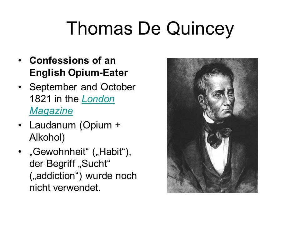 Thomas De Quincey Confessions of an English Opium-Eater