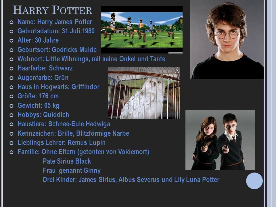Harry Potter Name: Harry James Potter Geburtsdatum: 31.Juli.1980