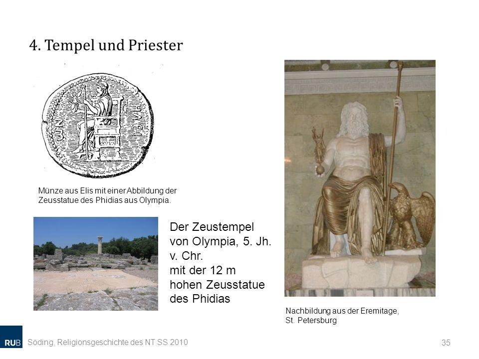 4. Tempel und Priester Münze aus Elis mit einer Abbildung der Zeusstatue des Phidias aus Olympia.