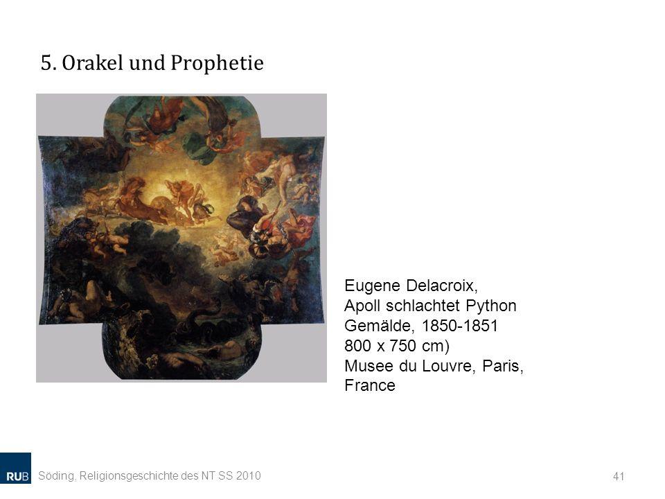 5. Orakel und Prophetie Eugene Delacroix, Apoll schlachtet Python Gemälde, 1850-1851 800 x 750 cm) Musee du Louvre, Paris, France.