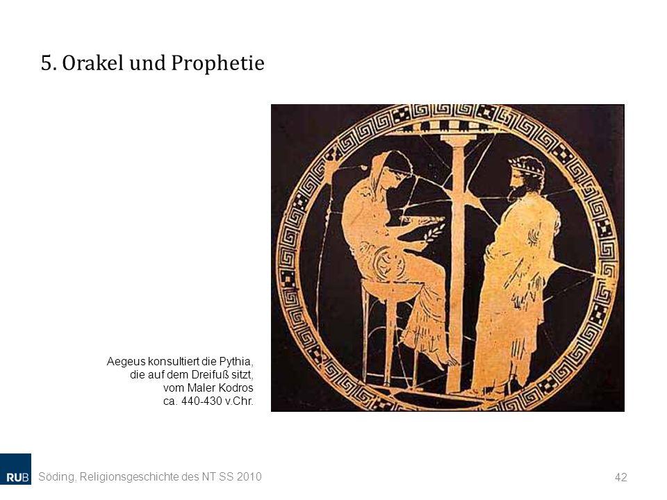 5. Orakel und Prophetie Aegeus konsultiert die Pythia, die auf dem Dreifuß sitzt, vom Maler Kodros ca. 440-430 v.Chr.
