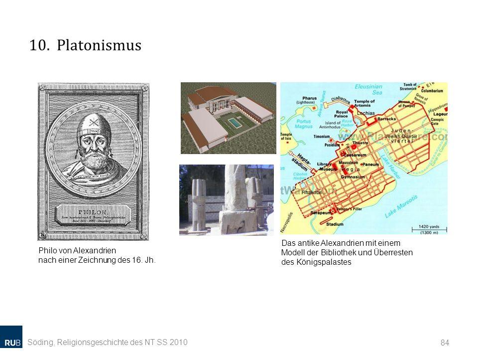 10. Platonismus Das antike Alexandrien mit einem Modell der Bibliothek und Überresten des Königspalastes.
