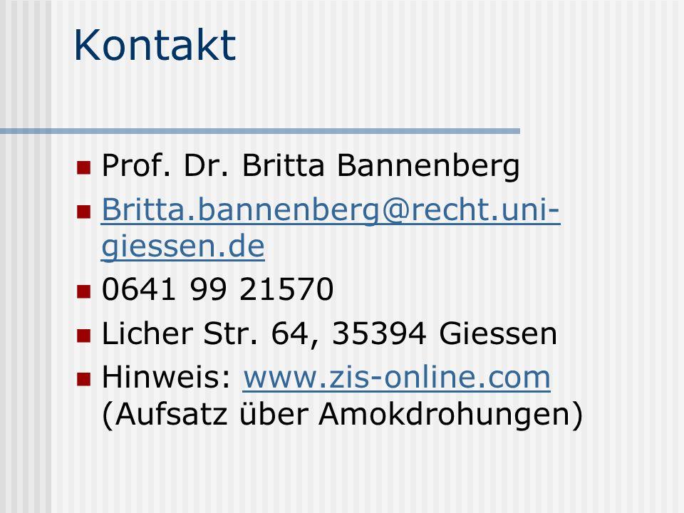 Kontakt Prof. Dr. Britta Bannenberg