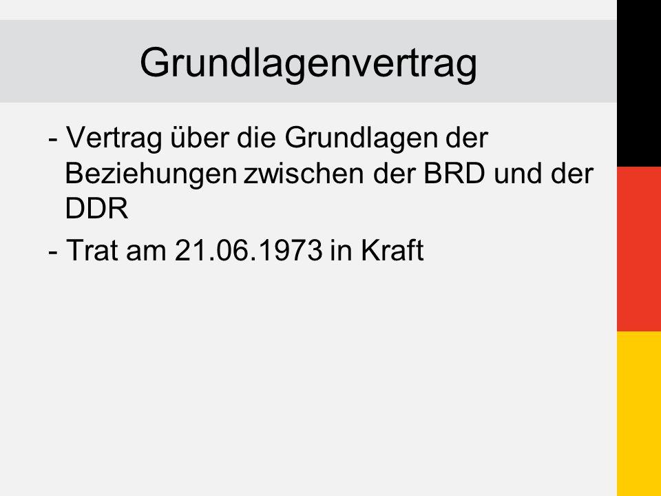 Grundlagenvertrag - Vertrag über die Grundlagen der Beziehungen zwischen der BRD und der DDR.