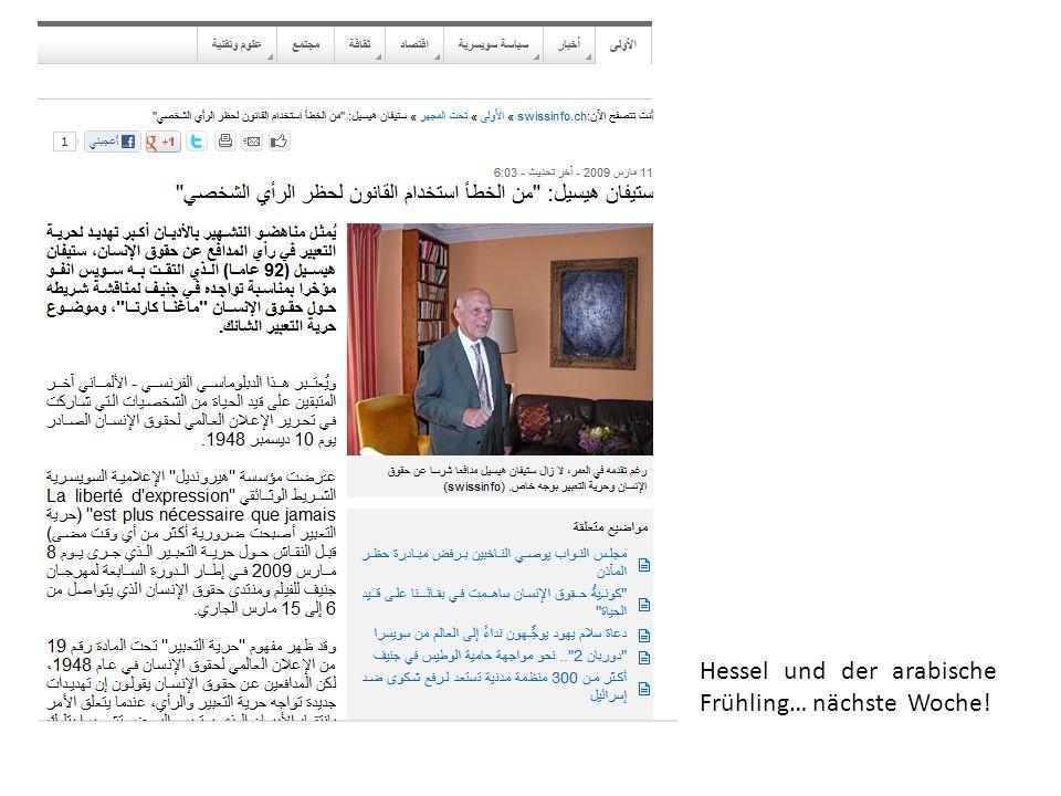 Hessel und der arabische Frühling… nächste Woche!