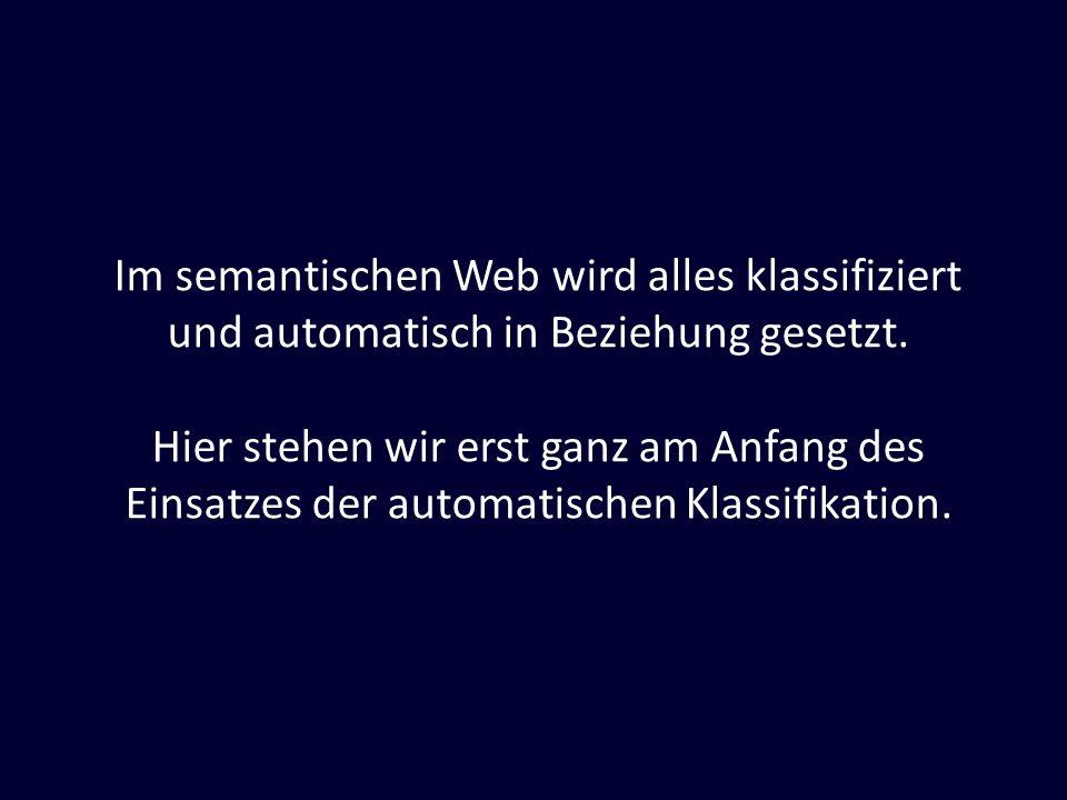 Im semantischen Web wird alles klassifiziert und automatisch in Beziehung gesetzt.