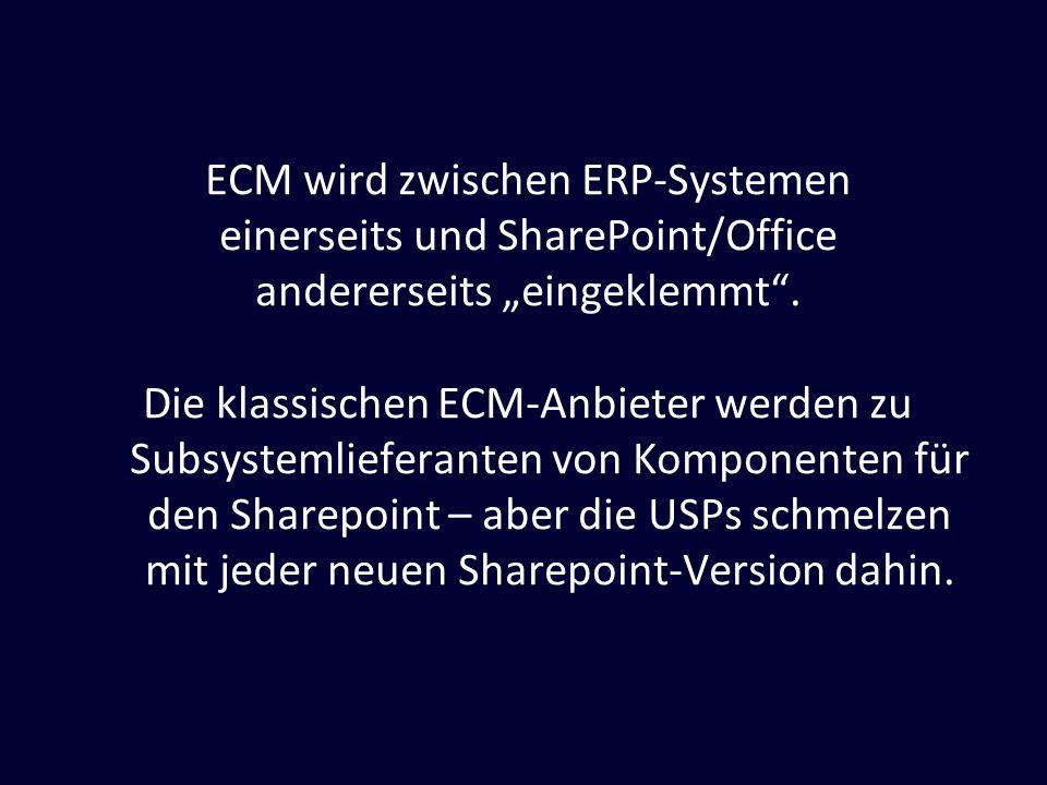 ECM wird zwischen ERP-Systemen einerseits und SharePoint/Office