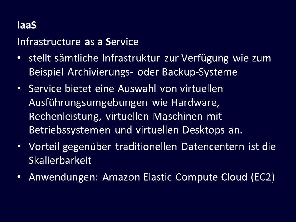 IaaS Infrastructure as a Service. stellt sämtliche Infrastruktur zur Verfügung wie zum Beispiel Archivierungs- oder Backup-Systeme.