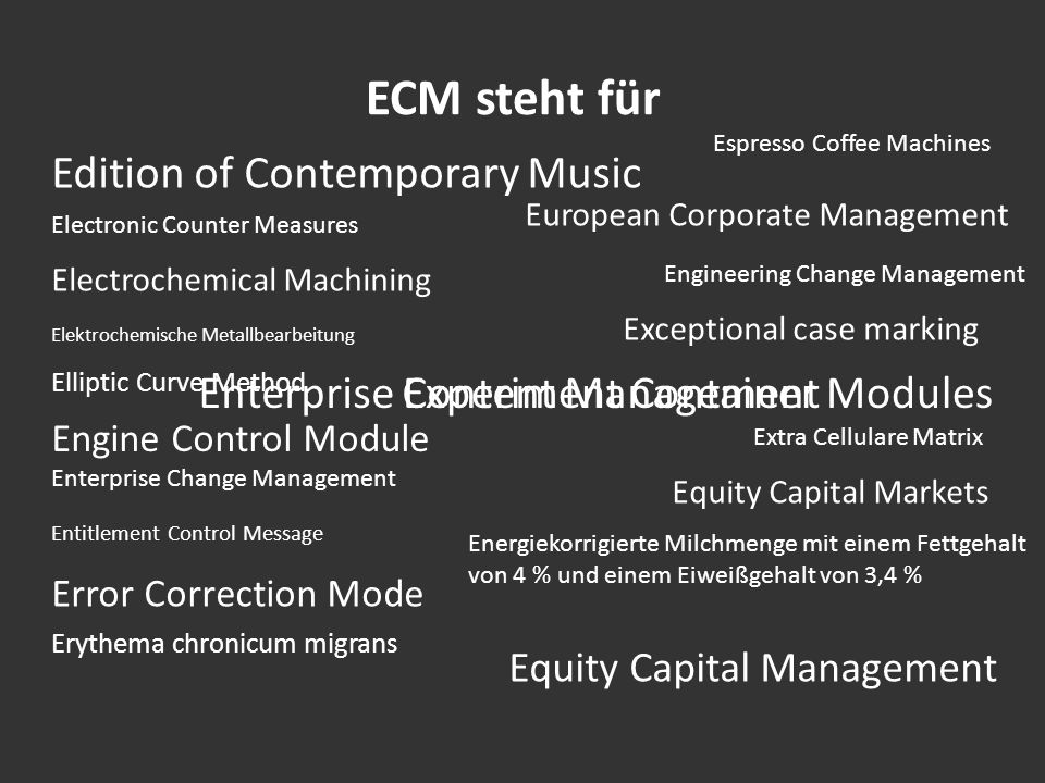 ECM steht für Edition of Contemporary Music