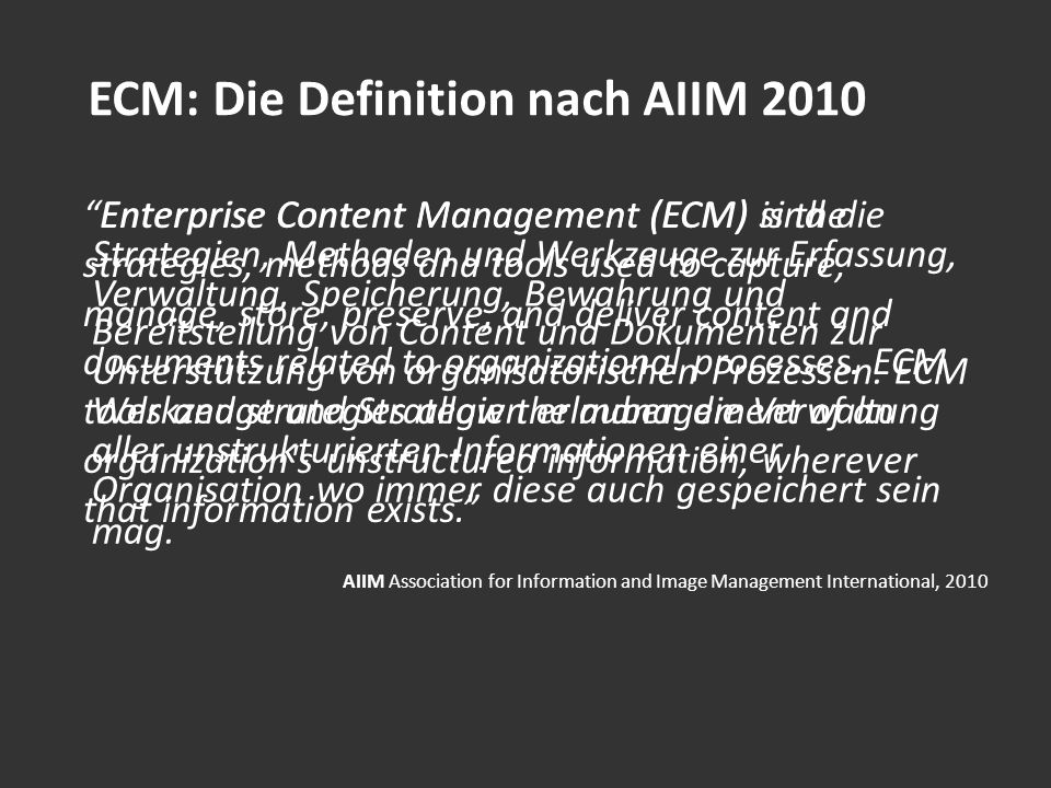 ECM: Die Definition nach AIIM 2010
