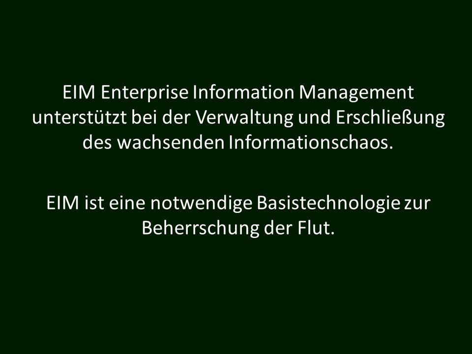 EIM ist eine notwendige Basistechnologie zur Beherrschung der Flut.