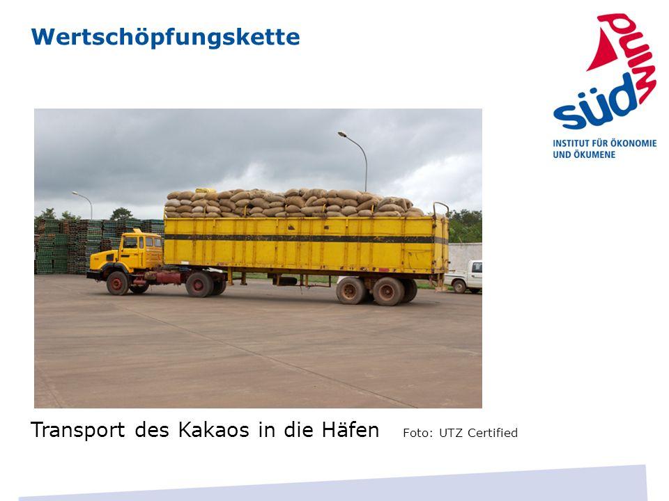 Wertschöpfungskette Transport des Kakaos in die Häfen Foto: UTZ Certified