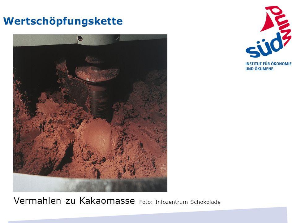 Wertschöpfungskette Vermahlen zu Kakaomasse Foto: Infozentrum Schokolade