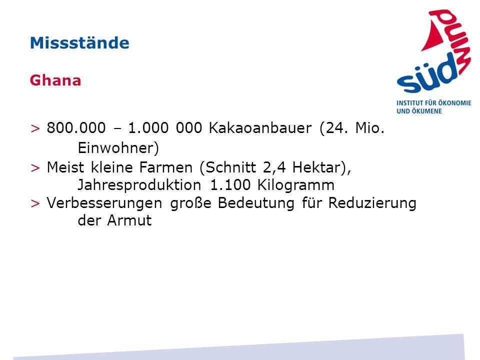MissständeGhana. > 800.000 – 1.000 000 Kakaoanbauer (24. Mio. Einwohner)