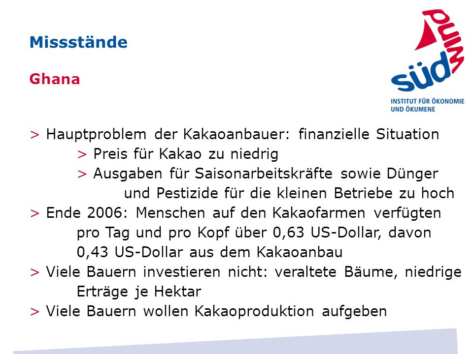 MissständeGhana. > Hauptproblem der Kakaoanbauer: finanzielle Situation. > Preis für Kakao zu niedrig.