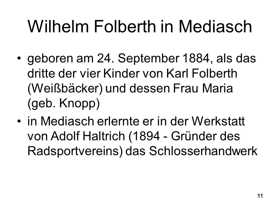 Wilhelm Folberth in Mediasch