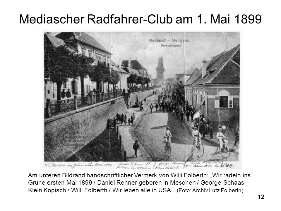 Mediascher Radfahrer-Club am 1. Mai 1899