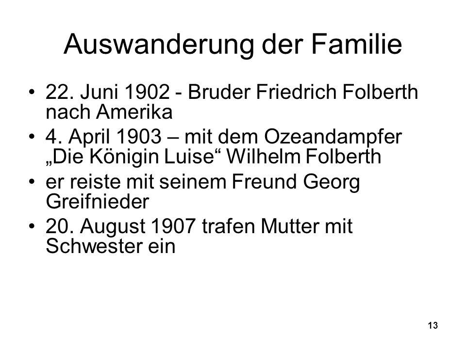 Auswanderung der Familie