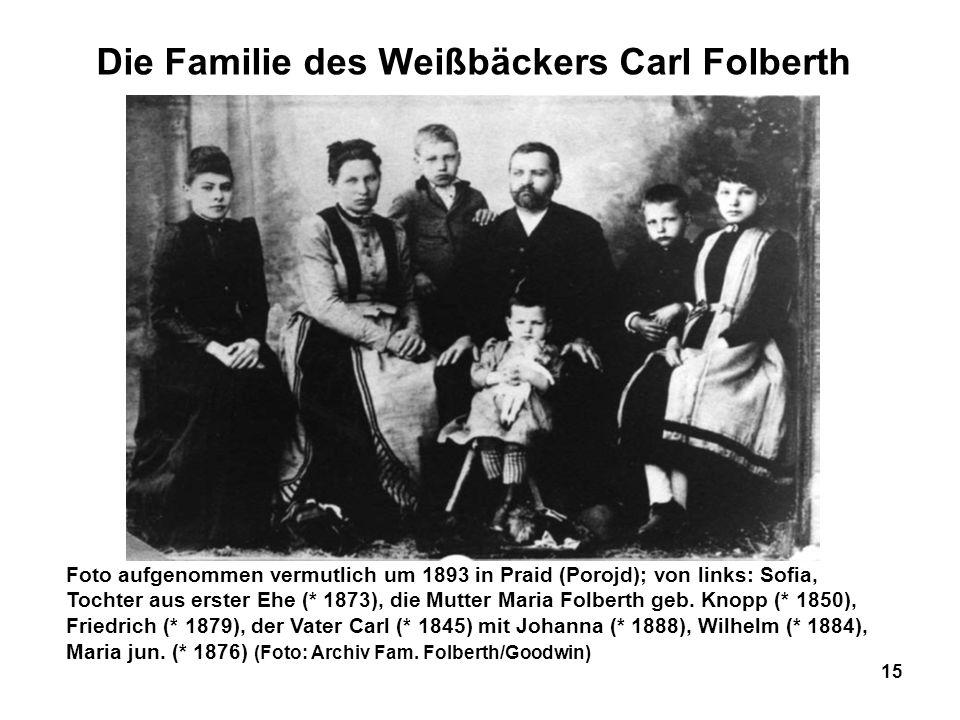 Die Familie des Weißbäckers Carl Folberth