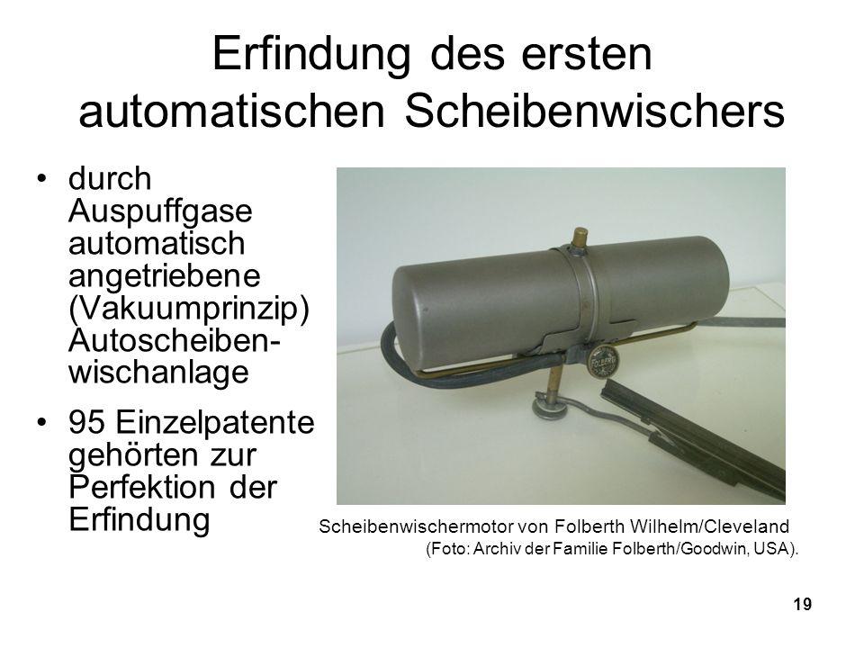 Erfindung des ersten automatischen Scheibenwischers