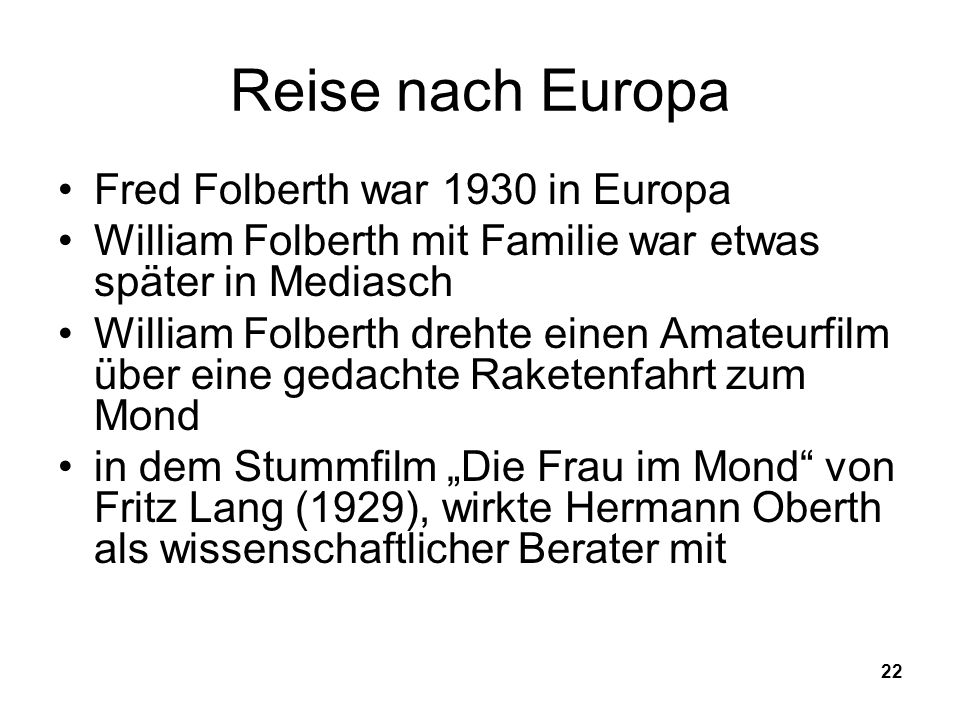 Reise nach Europa Fred Folberth war 1930 in Europa