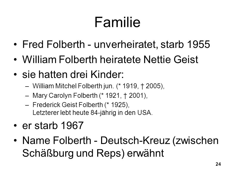 Familie Fred Folberth - unverheiratet, starb 1955