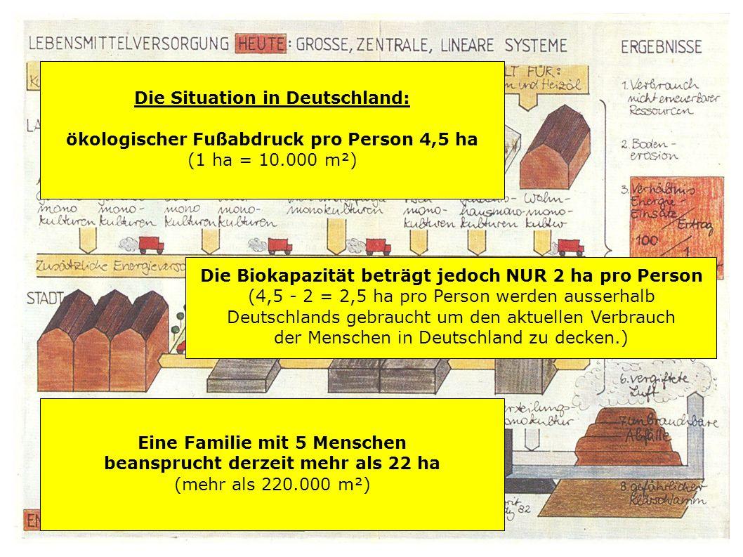 Die Situation in Deutschland: ökologischer Fußabdruck pro Person 4,5 ha (1 ha = 10.000 m²)