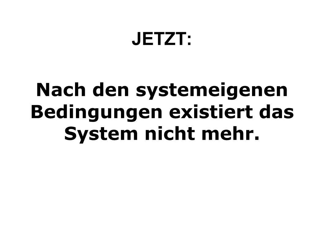 Nach den systemeigenen Bedingungen existiert das System nicht mehr.